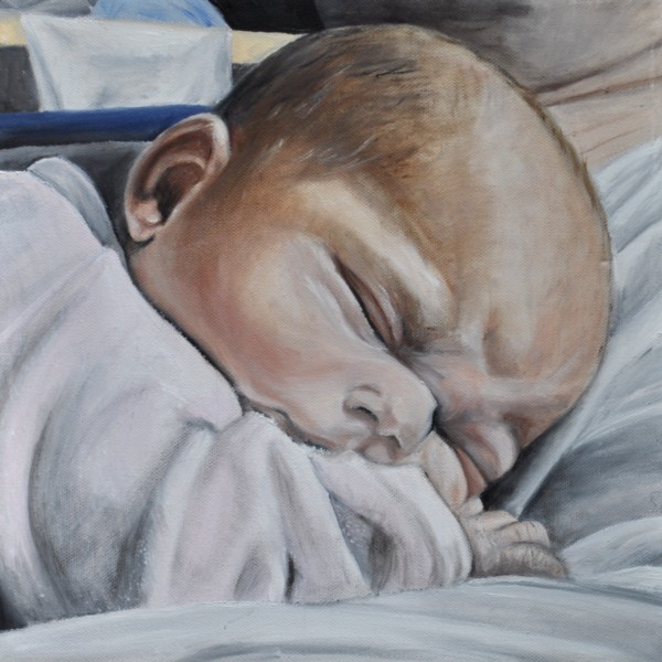 Baby auf Papas Bauch, Gemälde