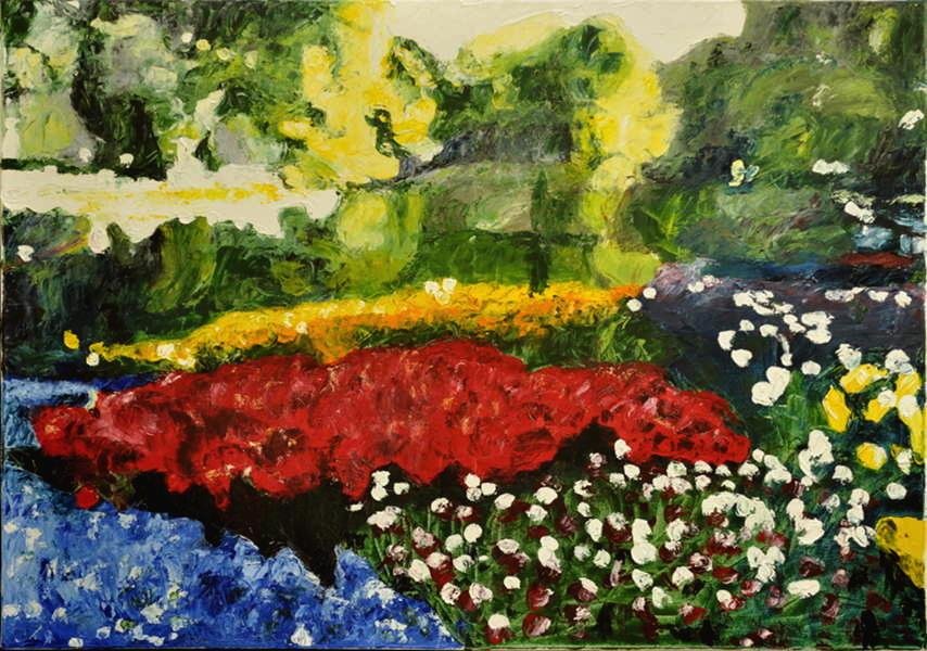 Blumenbeete im Park, Gemälde